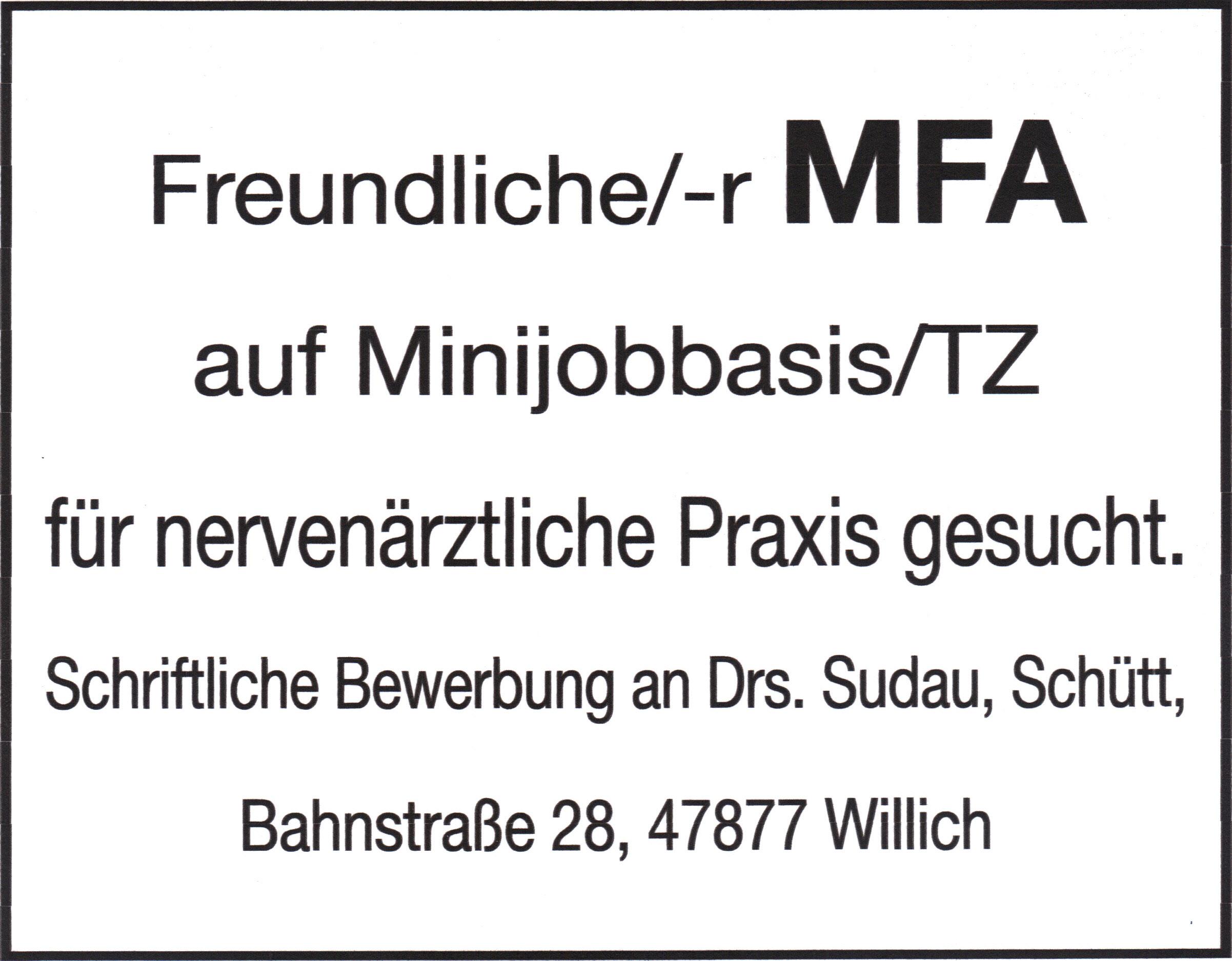 Stellenanzeige MFA